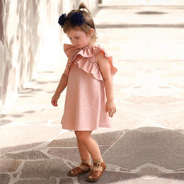 Wholesale Girl Tutu Wing - INS Baby Girls Dresses Summer 2018 New Ruffle Bow Princess Dress for Infant Cute falbala lace-up Bows Toddler butterfly wings dress C2650