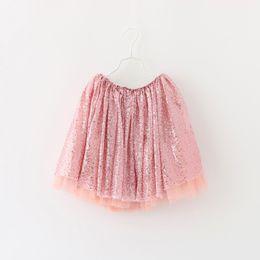 Wholesale Girl Dress Gown Blouse - 2017 Baby Girl Princess Sequined skirt Korean children Tutu Gauze skirt Sequin dress tutus for girls Kids Clothing summer outfit