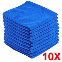Wholesale Bathroom Pads - 10pcs Microfiber Wash Clean Towels Car Cleaning Duster Soft Cloths 30x30cm Blue