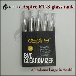 Wholesale Evic Atomizer Clearomizer - 100% Original aspire et-s glass tanks ets bvc clearomizer et s stainless steel atomizer bvc coil for kbox 160w evic rx75 rx23 rx200s