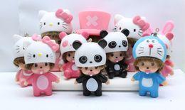 Wholesale Pacifier Rings - Lovely Mini Monchhichi Keychain Kawaii Monhichi With Panda Hat Key Chain Pacifier Cute KiKi Key Ring Best Girl Gift