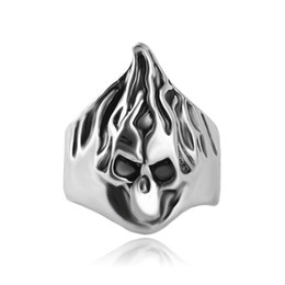 Wholesale Skull Polish - jewelry vintage silver plated alloy high polished men fire blaze flame ring hair Skull ring Big surface Skeleton rings for women 2017 j203