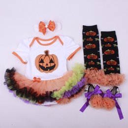 Wholesale Toddlers Leggings Tutu - Halloween Clothing Sets Baby Rompers Dresses Toddler Shoes Hairband Leggings Knee Socks 4pcs Suits Free DHL 425