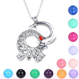 Wholesale Elephant Ball - Angel Caller Chime Ball Pendant Necklace Women Pregnancy Baby Animal Elephant Hollow Cage Bell Jewelry Fit 16mm Chime Ball Mexican Bola