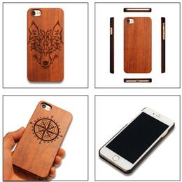Caixa de madeira sólida iphone on-line-Para iphone 7 além de madeira sólida case melhor caixa de madeira de bambu handmade madeira caso capa de volta com vários padrões para iphone7