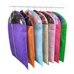clothes hanger fabric Promo Codes - Wholesale- HGHO-100% Good Cover garment bags Non Woven Fabric Dustproof Hanger Coat Clothes Garment Suit Cover Storage Bags 100 x 60cm (M)