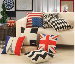 Wholesale Decorative Pillows England - European style cushion geometric vintage fashion england flag decorative throw pillow funda almohada cojines