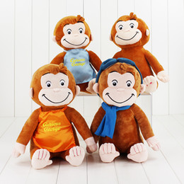 "Wholesale Stuffed Boy Dolls - 4Styles 12""30cm Curious George Plush Doll Boots Monkey Plush Stuffed Animal Toys For Boys and Girls"