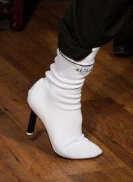 Wholesale Runway Boots - fashion runway women socks boots strange heels stretchy fabric closed toe high heels black red white kniting botas 2017 fall winter