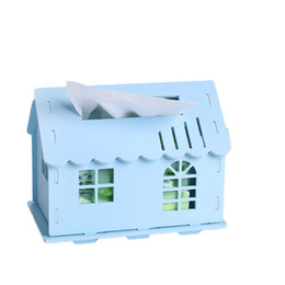 Wholesale Small House Box - Wholesale- Multifunction wooden board tissue box 1771 small house storage bins dining table removable tissue canister 20*15*13cm