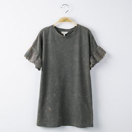 Wholesale Big Charcoal - New Girls Dresses Summer Short Sleeve Cotton Lace Edge Short Sleeve Brand Big Children Clothes Dress Casual Charcoal Wine Red A7429