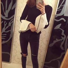 Wholesale korean winter ladies pullover - Wholesale- high quality korean basic fashion batwing sleeve ruffles slim ladies pullover women knitwear sweater 2016 new autumn winter
