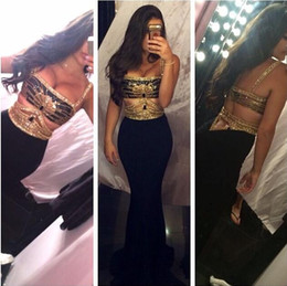 Wholesale Out Side Lights - 2016 New Design Sexy Mermaid Prom Dresses Straps Backless Gold Beaded Cut Out Gold Black Party Gowns Formal Dresses