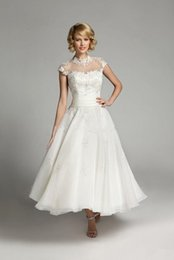 Wholesale Sheer Ankle Length Robe - Casamento Bridal Gown 2016 Beach Wedding Dresses with Sleeves High Neck Appliqued Wedding Gowns Robe De Mariage