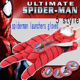 führte kunststoffwaren Rabatt Spider Man Spielzeug Handschuhe Emitter Darts Spielzeug Ejektion Handgelenk Catapult Launcher Elastische Handschuhe Kinder Kinder Verkleiden Spielzeug 7 teile / satz WX-C11