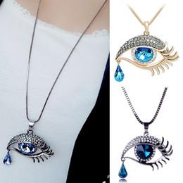 Wholesale Evil Eye Green - 1Pc Fashion Evil Eye Teardrop Crystal Rhinestone Pendant Long Chain Necklace Women's Jewelry Gift