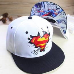 Tapa plana superman online-Sombrero Primavera Verano Sombreros de Superman Hip-hop Dance Along the Hat para Hombres y Mujeres Fashion Flat Along Hip-hop Cap