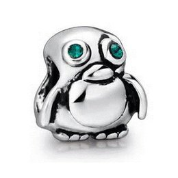 Wholesale Penguin Factory - Wholesale Rhodium Plating Lovely Green eyes Penguin Bead European Charm Fit Pandora Bracelet from shenzhen factory directly