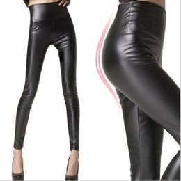 Wholesale Sexy Footless - 2016 Fashion Women Trousers Pants For Women Tights Faux Leather High-waist Stretch Sexy Shiny Footless Tights weight QP25892SZ-1