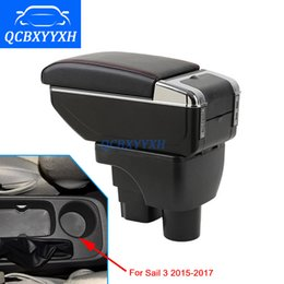 Wholesale Chevrolet Sail - For Chevrolet Sail 3 2015-2017 Armrest Center Storage Box Black Gray Cream Color ABS Leather With Cup Winner Ashtray Accessory