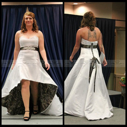 Wholesale Sexy Waistline - 2016 Sweetheart Beaded Crystal Waistline High Low Realtree Camo Wedding Dresses Plus Size Camouflage Lace Up Back Formal White Bridal Gowns
