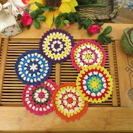 Wholesale Crochet Cup Placemat - Wholesale- yazi 4PCS Handmade Cotton Hollow Colorful Round Doily Cup Pads Crochet Table Mat Doilies Crochet Placemat Coasters