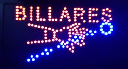 Wholesale Billiards Signs - 2016 Direct Selling custom Graphics indoor flashing 10X19 inch billares Billiards open sign of led- Wholesale