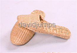 Wholesale Sandal Material - Environmental zori slippers wickerwork arts and crafts shoes willow sandals straw - woven slippers environmental protection materials