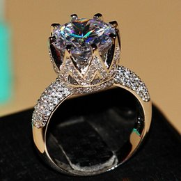 Wholesale Wieck Ring - Wholesale - Victoria Wieck 8ct Big Stone Solitaire 925 sterling silver filled Topaz Simulated Diamond Wedding Crown Rings For Women Size 5 6