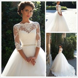 Wholesale tull wedding dresses sleeves - Fashion White Wedding Dresses With Lace Sleeve Jewel Ball Gown Wedding Gowns Tull Chapel Train Zipper Back Bridal Dress Custom Made Online