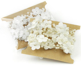 Wholesale Wedding Flower Table Stands - 10 Meters Cream  White Silk Plum Blossom Flower Pearl Bead Garland For Wedding Centerpiece Decoration Hair Style