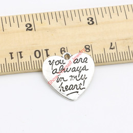 Wholesale Tibetan Charms Heart - Wholesale-15pcs Tibetan Silver Plated You are always in my Heart Charms Pendants for Necklace Jewelry Making DIY Handmade Craft 21x21mm