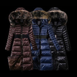 Hoodie fourrure pour femmes à vendre-Vestes Femmes Avec Le Raccoon Fur Fur Collier Parka Hoodie Long Sleeve Puffer Duck Down Belt Femelle Long Manteaux