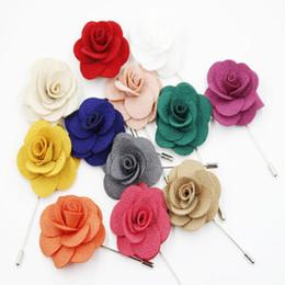 Wholesale mens flower lapel pins - Pins Brooches Lapel Flower Mens Womens Camellia Handmade Boutonniere Stick Brooch Pin Jewelry Dress Accessories Breastpin DIY Fibula Fibule