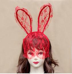 Wholesale Bunny Ears Hair Band - Costume Accessories Fashion Women Girl Hair Bands Lace Rabbit Bunny Ears Veil Black Eye Mask Halloween Party Headwear Hair Accessories