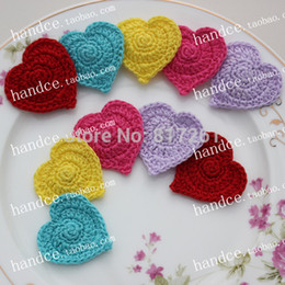 Wholesale Doily Hearts - Wholesale- free shipping 12 pic lot cotton crochet heart mat for table decoration lace doilies for wedding table mats coaster pads cup mat