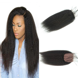 Wholesale Pcs Parts - Brazilian virgin hair kinky straight top silk base closures middle part 4*4 size natural color 8-22inches 30-55grams pcs G-EASY