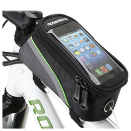 """Wholesale bicycle frame handle - Bicycle Tube Frame Cycling Pannier Water Resistant Bike Bag 5.5"""" Mobile Phone Screen Touch Holder"""