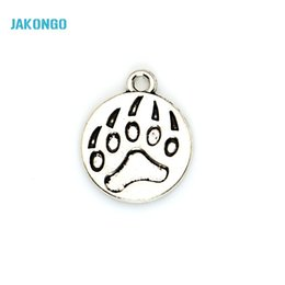 Wholesale Handmade Bear - 20pcs Tibetan Silver Plated Bear Paw Charms Pendants for Bracelet Jewelry Accessories Making DIY Handmade 15x15mm