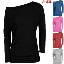 Wholesale Ladies Cotton Long Tunics - 2017 Women's Fashion Long Sleeve Off Shoulder Cotton Tops Blouse Ladies Sexy Tunic Blouse Sweaters(S-5XL)