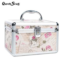 cosmetics vanity bags Coupons - Professional Aluminum Makeup Case Portable Travel Jewelry Cosmetic Organizer Box With Mirror Beauty Vanity Brush Storage Bag