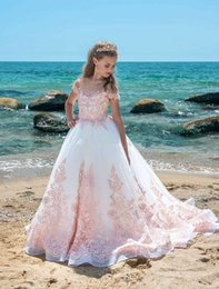 Wholesale Teen Girls Short Formal Dresses - 2018 Lovely Girls Pageant Dresses Sheer Neck Cap Sleeves Appliques Lace Kids Formal Wear Wedding Party Gown Flower Girls Dresses For Teens