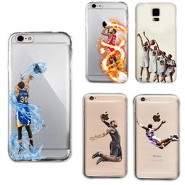 Wholesale Defender Phone Cases - Curry Kobe James phone cases for iphone7 iphone 7 6 6s plus s7 edge hard PC painting cover shell basketball man defender case GSZ103