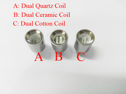 Wholesale Metal Sleeve - New Cannon Atomizer Wax Coils Dual Quartz Coils Dual Ceramic Cotton Coil Head for Metal sleeve Cannon Vase Tank Glass Globe Atomizer