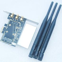 Antena de cartão wifi pci on-line-Venda Por Atacado- 6DB Antena X3 Mini PCI-e Para PCI-e 1x 16x U.FL (IPX) Para Adaptador RP-SMA Para Cartão Wifi Sem Fio WWLAN Mini Card Para Desktop