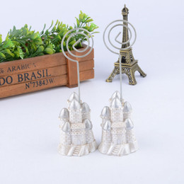 Wholesale Menu Wedding - Silver Castle Name Number Menu Table Place Card Photo Holder Clip Wedding Decoration Party Reception Favor ZA4430