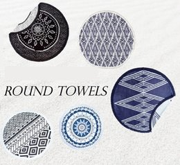 Wholesale Children Beach Paintings - 10 Painting Styles 100% Microfiber Round Beach Towel With Tassels Bath Towels Summer toallas Swimming Sunbath serviette de bain