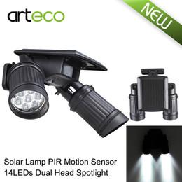 Wholesale Driveway Led Light - Wholesale-14LEDs LED Solar Lamp PIR Motion Sensor Dual Head Spotlight Adjustable Waterproof Wall Light for Yard Garden Driveway