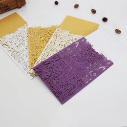 Wholesale Hot Greeting Cards - Creative Inviting Card Hollow Out Greeting Cards Wedding Party Articles Multi Color Hot Sale 1 5wb C R