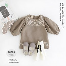 Wholesale Childrens Embroidered Clothing - Baby Girls Tutu Dresses Autumn Childrens Long Sleeve for Kids Clothing 2016 New Party Embroidery Dress